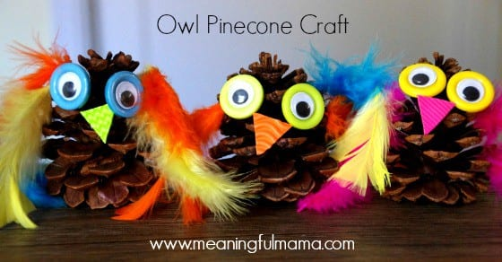 owl pinecone craft kids fall