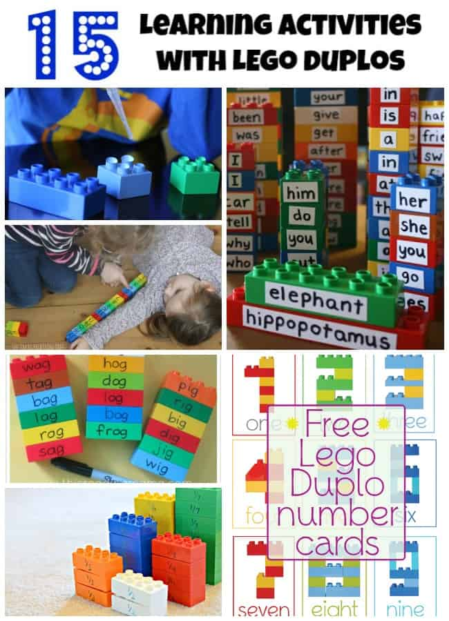 learning activities lego duplos reading letters numbers