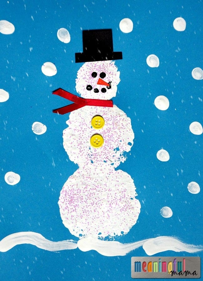 sponge paint snowman craft preschool