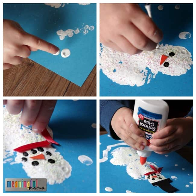 sponge paint snowman tutorial kids