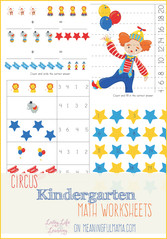 Circus Kindergarten Math Worksheets – Fill in the Blank Math Worksheets