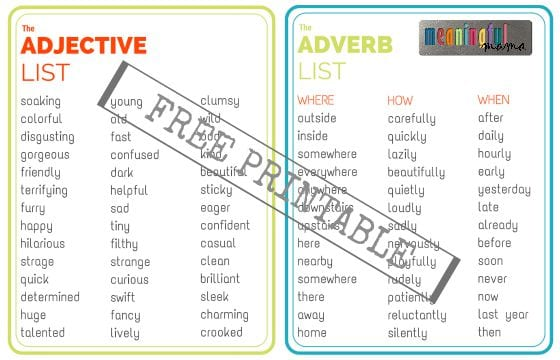 Adjective and Adverb List - Free Printable