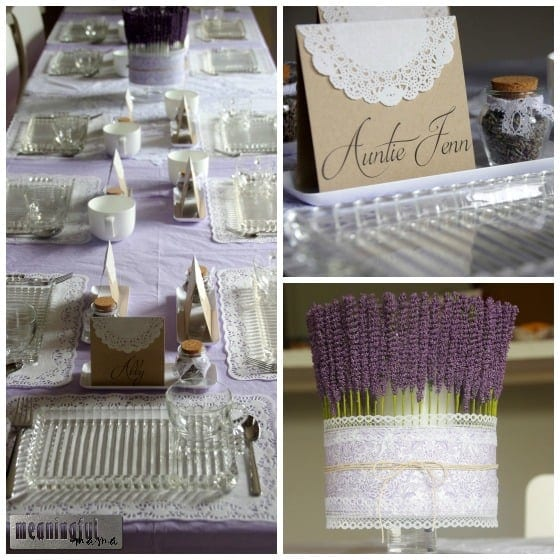 Lavender, Lemon and Lace First Birthday Party Table Decor