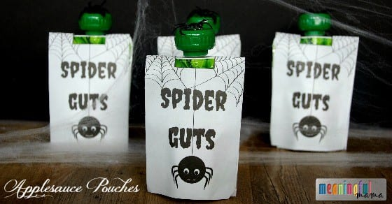 Spider Guts Applesauce Pouches - Free Printable