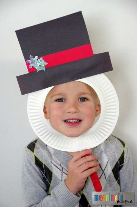 Snowman Paper Plate Mask for Kids