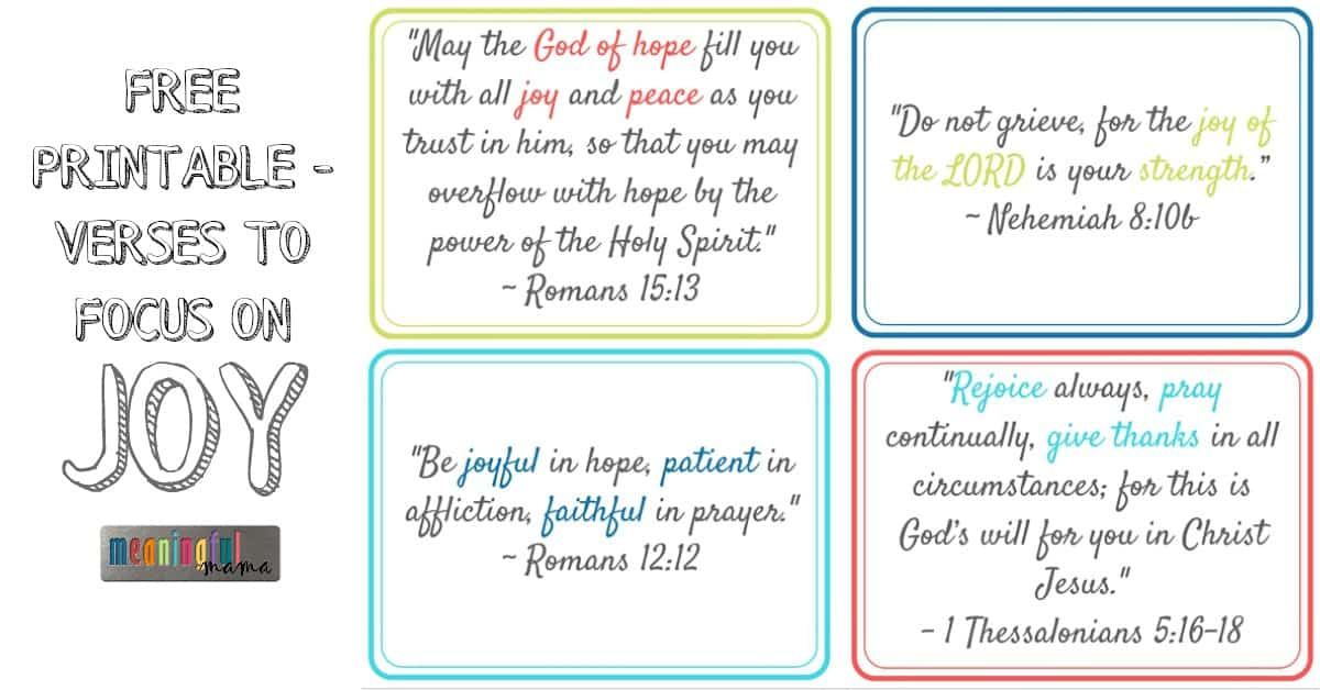 Printable Verses About Joy
