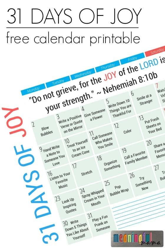 31 Days of Joy Free Printable