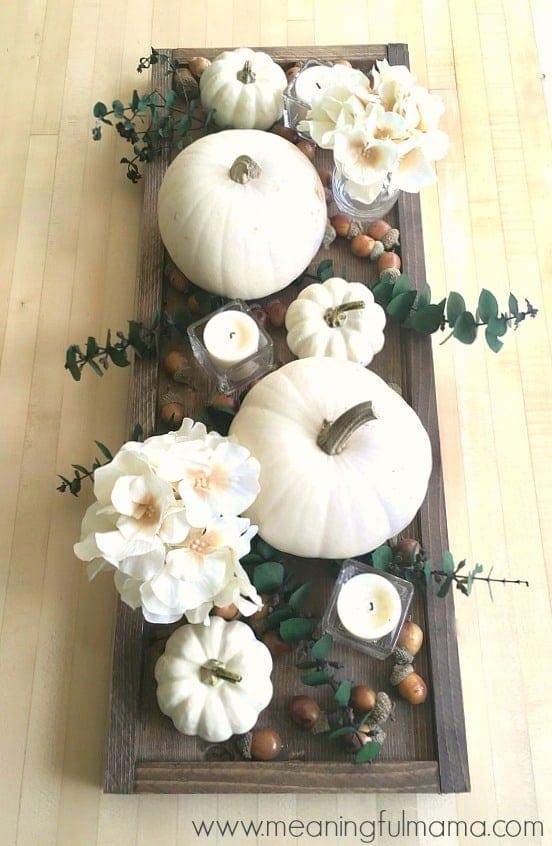 Contemporary Fall Centerpiece Idea with White Pumpkins