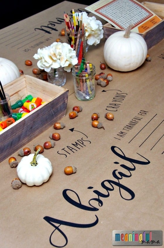 Thanksgiving Kids' Table Covered in Brown Paper and Full of Kid Activities