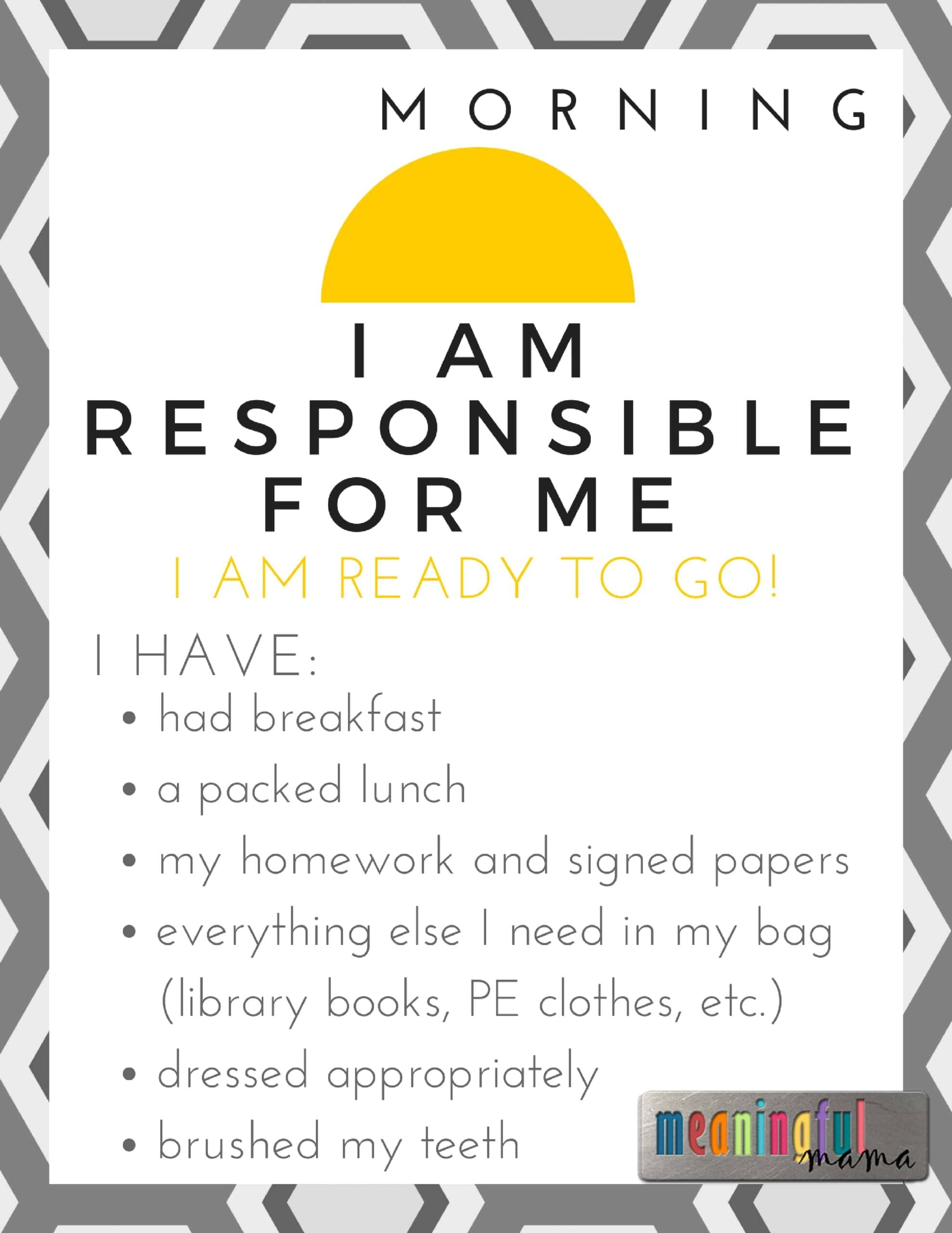 I Am Responsible For Me Printable For Teaching Kids