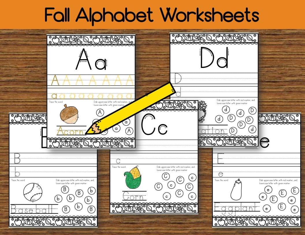 Free Fall Alphabet Handwriting Worksheets
