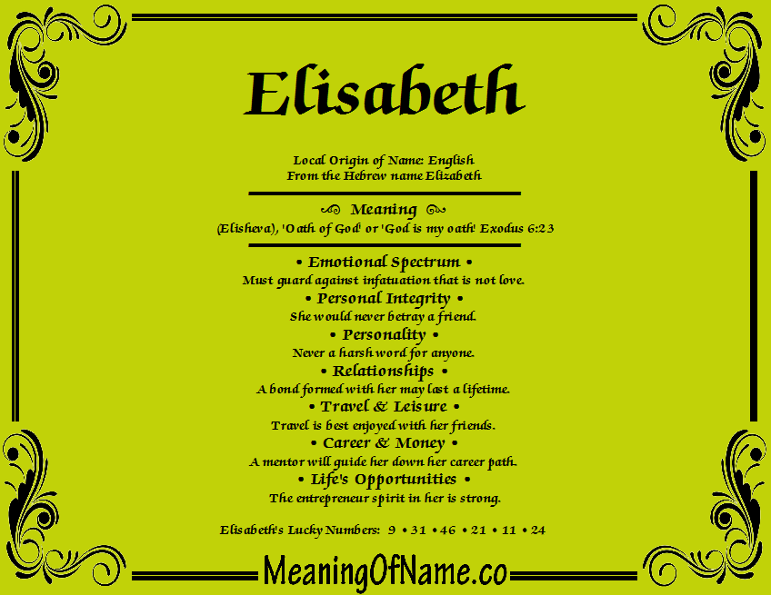 Image result for the name elisabeth