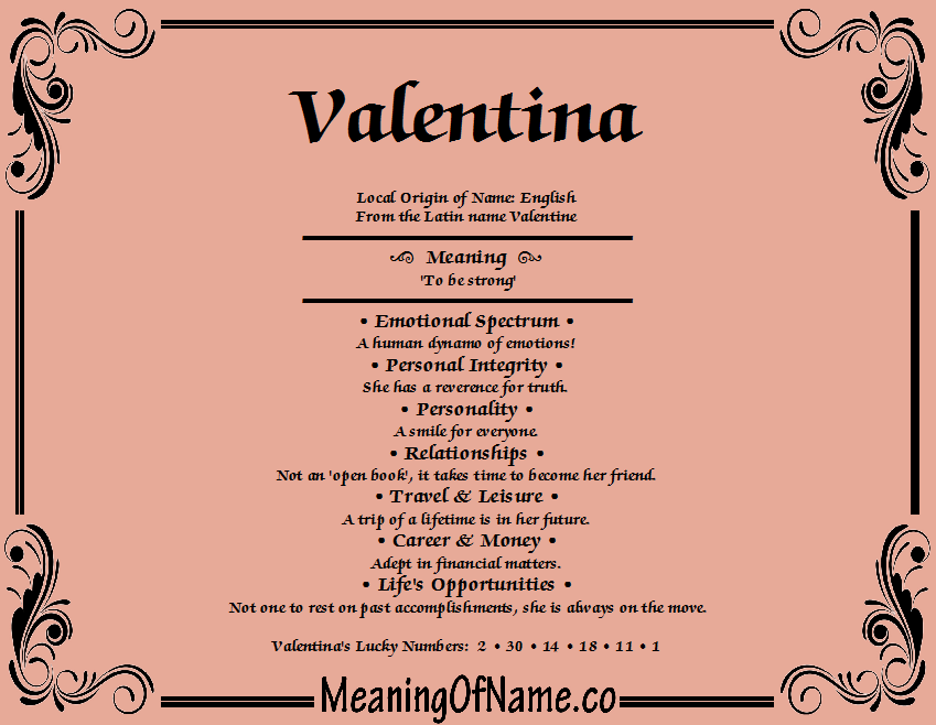 List Of Synonyms And Antonyms Of The Word Valentina Name