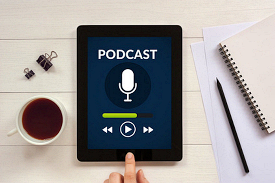 Podcast on tablet