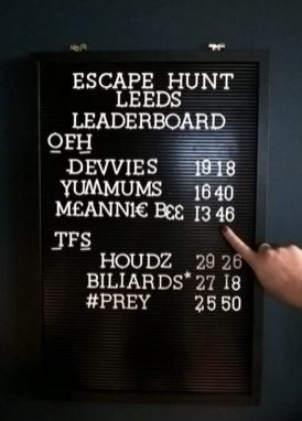 Escape Hunt Leeds leader board. Our Finest Hour