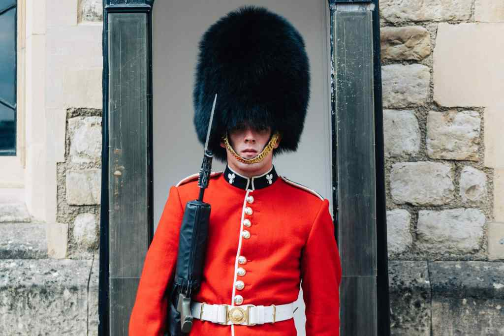 guard on duty in guardhouse at palace