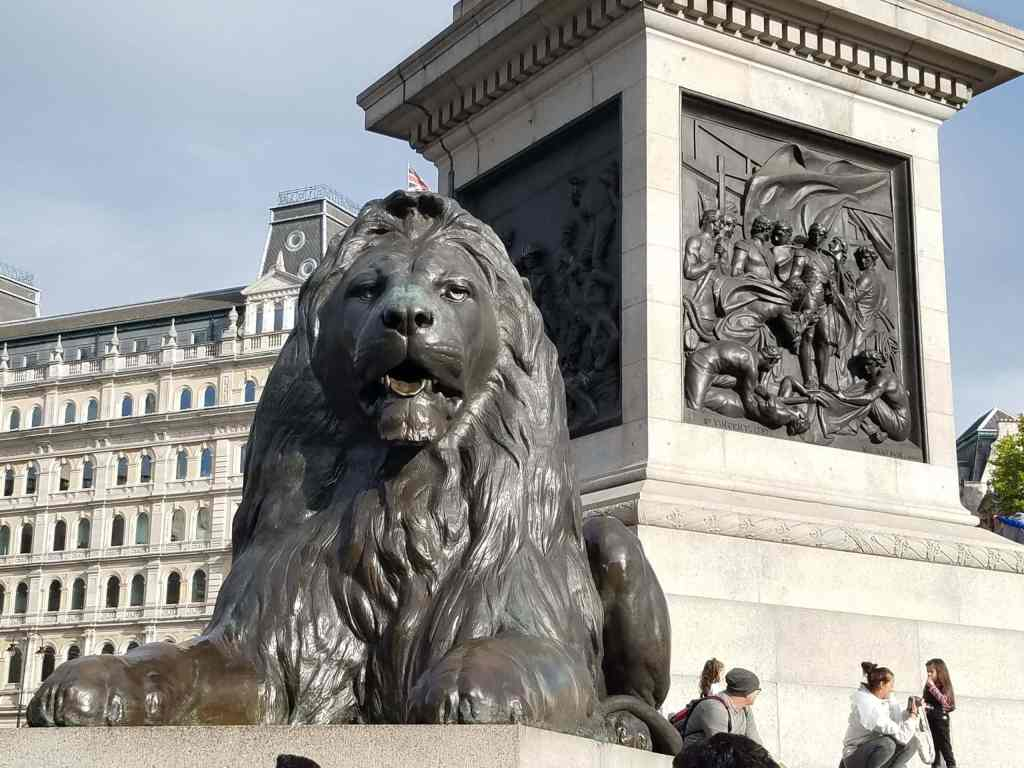 Trafalgar Square lion and base of Nelson's column