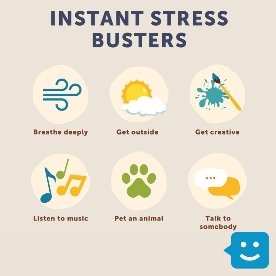 graphic of 12 instant stress busters