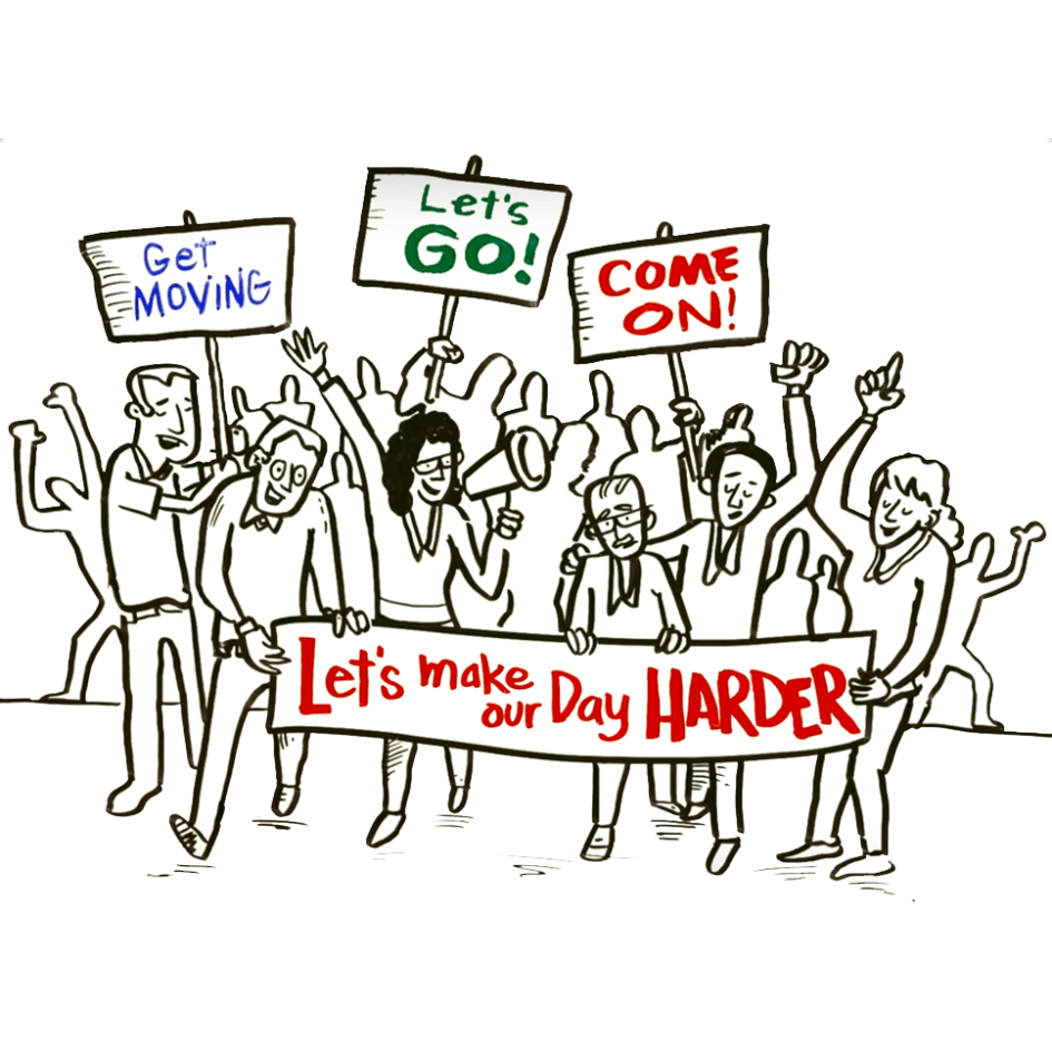 whiteboard image of a crowd of people with signs saying get moving, lets go, come on