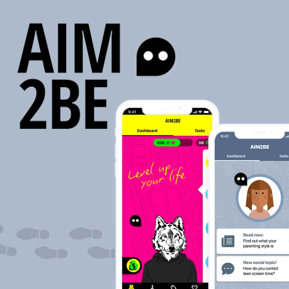 aim2be app logo with cellphone image