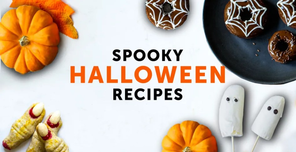 spooky halloween healthy treats on white background