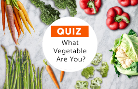 Vegetables scattered on marble background with white circle in middle and text What vegetable are you