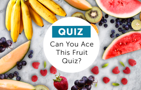 different types of fruits scattered on a marble background with a white circle in the middle and text reading Quiz can you ace this fruit quiz?