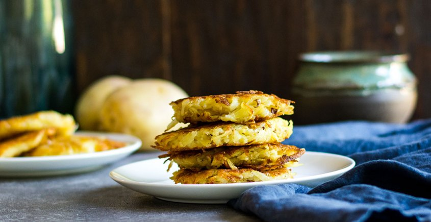 potato pancakes or latkes on plate