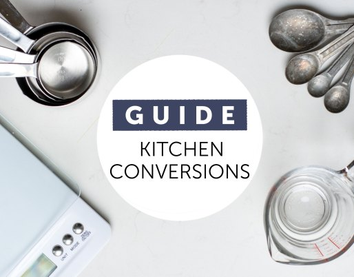 kitchen conversion guide measuring cups on marble table