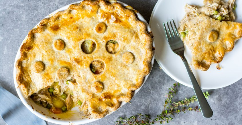 pot pie baked with slice cut