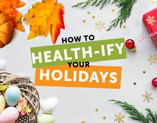 healthy holiday spread web image with presents, easter eggs and pumpkin on white background