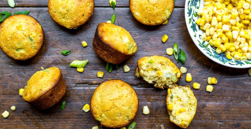 cornbread muffins on table