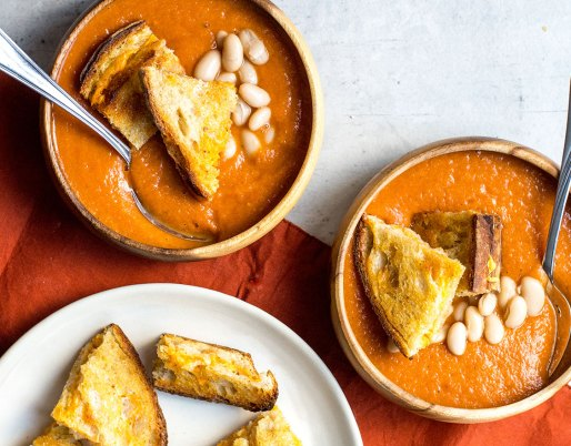 tomato soup with grilled cheese croutons and white beans