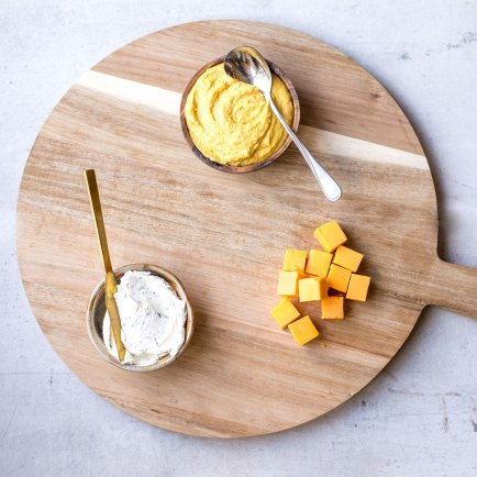 dips on board with cheese