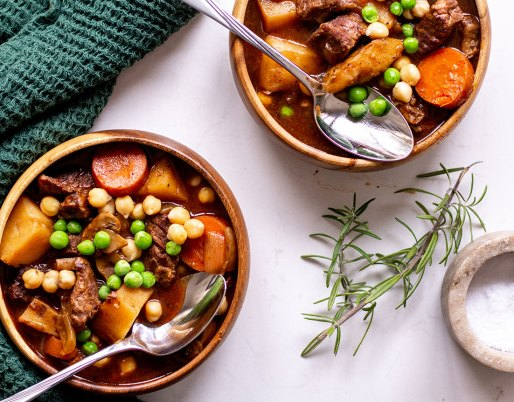 beef and chickpea stew on table with green napkin