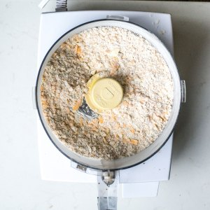 dry ingredients in food processor mixed