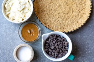 ingredients with baked pie crust