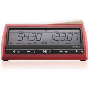 Relógio digital de xadrez DGT 3000 vermelho com botões pretos