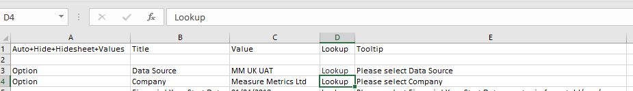 Measure Metrics Selecting Data Source and Company as menu