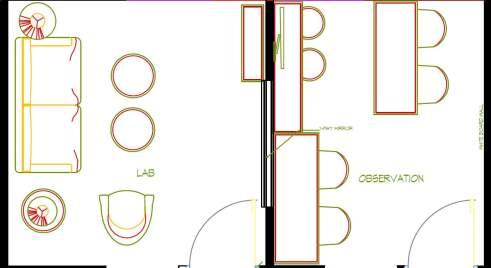 Figure 1- Floor plan of a lab and adjacent observation room