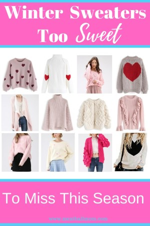 These cozy valentine sweaters are perfect to wear all winter long! #valentinesweater #winterstyle #wintersweater #sweaters #womensfashion #knitsweater #croppedsweater #sweaterweather #casualstyle #momstyle #momfashion #casualmomstyle
