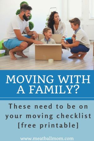 Moving is no joke. Moving with a family? That's a whole other beast. There are things you can do--like having a moving checklist-- to make your transition smoother. #movingchecklist, #movingtips, #familymoving, #familymovingtips, #movingchecklistprintable