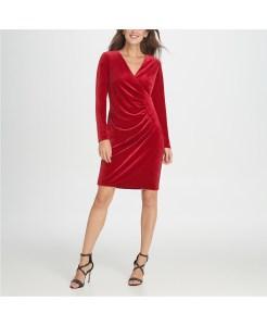 velvet-side-ruche-sheath-dress