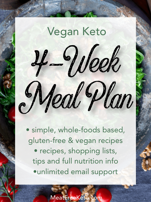 vegan keto 4 week meal plan graphic