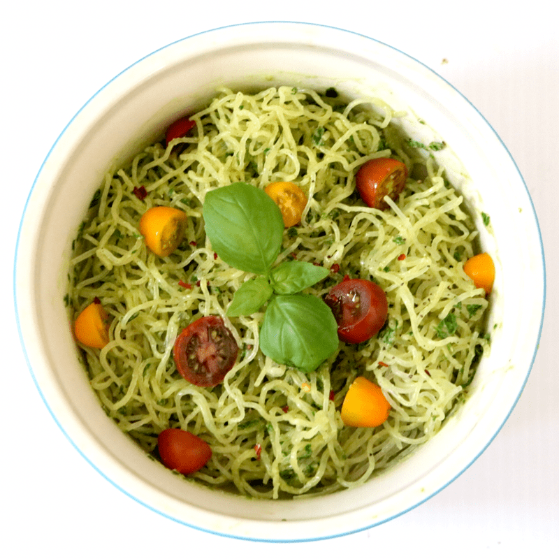 Kelp Noodles With Avocado Pesto (low carb, gluten free, nut free, raw)