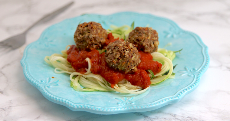 "Vegan Keto Zucchini ""Meatballs"" (gluten-free, soy-free)"