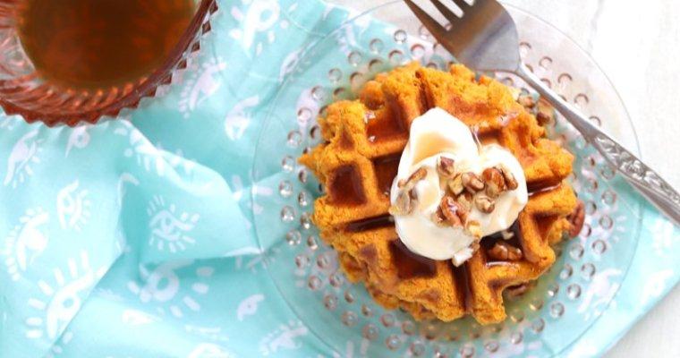 Vegan Keto Carrot Cake Waffles (gluten-free, grain-free, coconut-free, soy-free, nut-free)