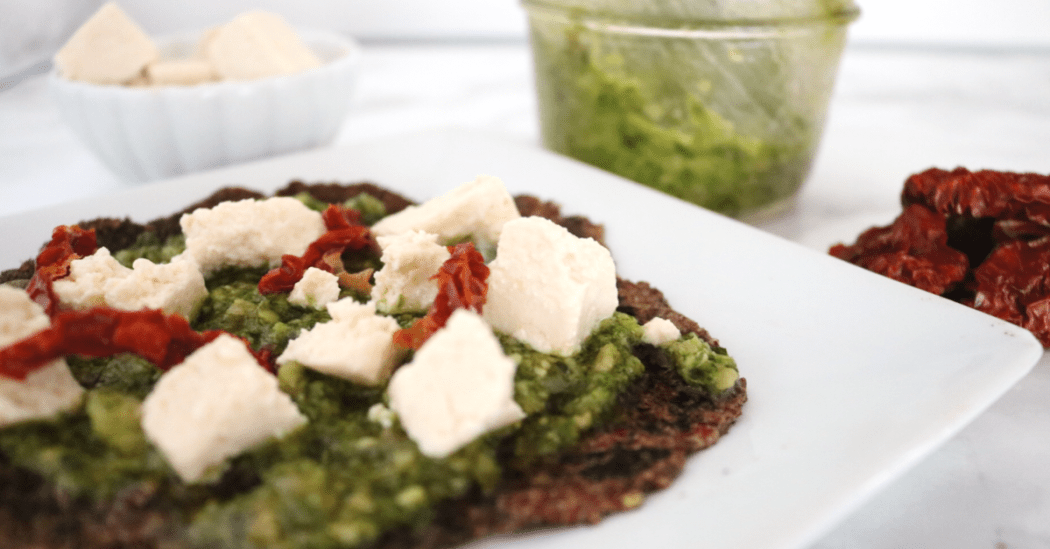 Low Carb Vegan Pesto Flatbread   Meat Free Keto - If you're looking for a flavorful, keto dinner option, look no further than these low carb vegan pesto flatbreads!