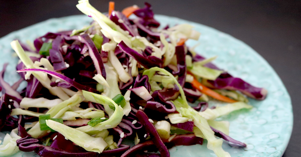 Low Carb Cabbage Slaw   Meat Free Keto - This tangy low carb vegan cabbage slaw gets it's flavor from tamari and ginger, making it a delicious and unique addition to any bbq or picnic!