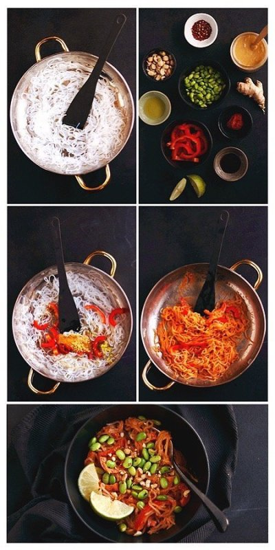 step by step instructions for making thai peanut red curry noodles
